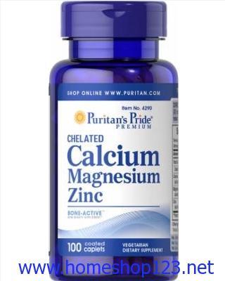 Viên uống bổ sung canxi Puritan's Pride 100 viên - Calcium Magnesium Zinc