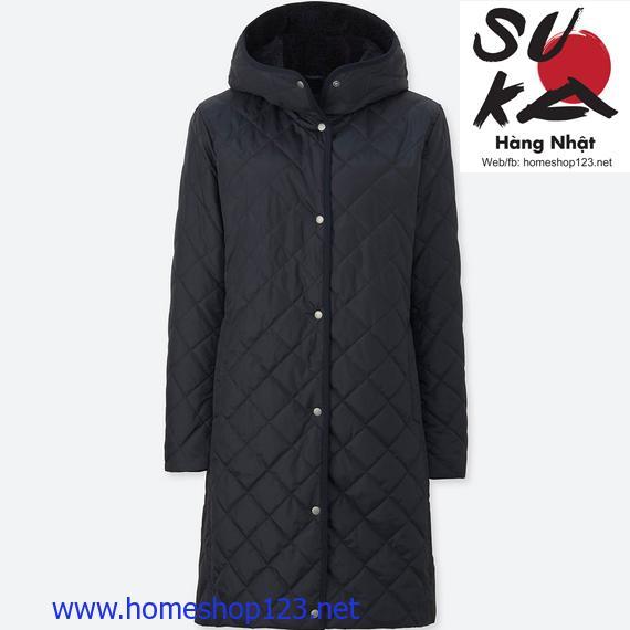 Áo khoác lót lông cừu trần trám dáng dài Uniqlo 69 Navy