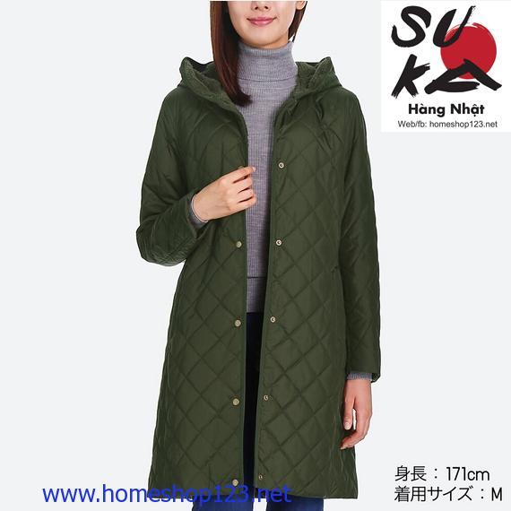 Áo khoác lót lông cừu trần trám dáng dài Uniqlo 57 Olive