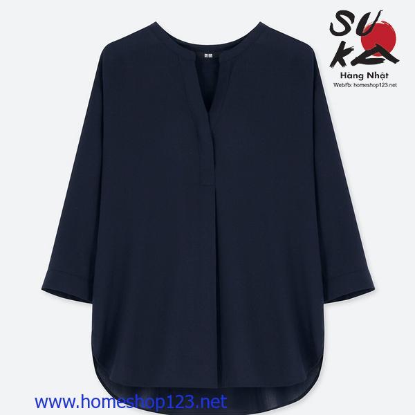 Áo Sơ Mi Nữ Tay Lỡ Nhật Bản Uniqlo 404544-69 NAVY