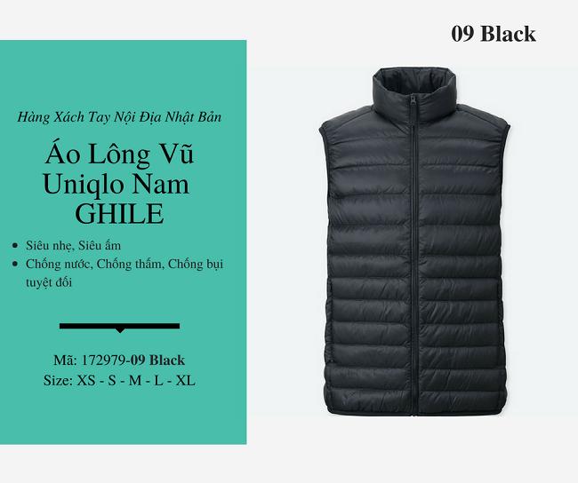 áo lông vũ nam ghile uniqlo màu đen 172979