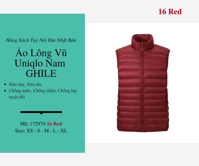 áo lông vũ nam ghile uniqlo màu đỏ 172979