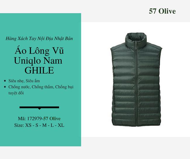 áo lông vũ nam ghile uniqlo màu xanh olive 172979