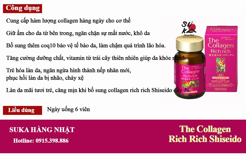 Công dụng của The Collagen Rich Rich Shiseido dạng viên