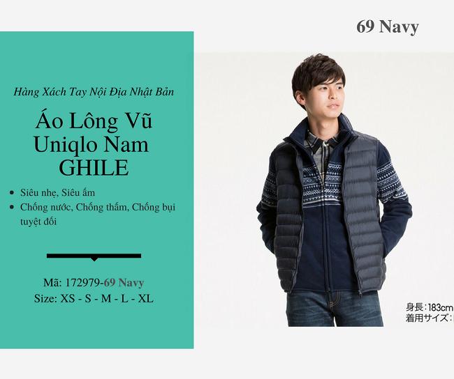 áo lông vũ nam ghile uniqlo màu xanh 172979