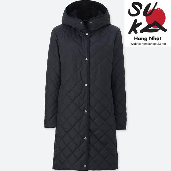 áo khoác lông cừu trần trám dáng dài uniqlo