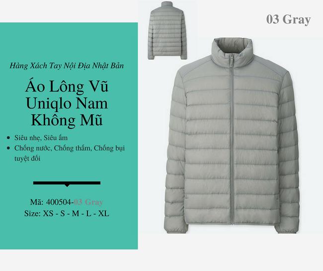 áo lông vũ nam uniqlo không mũ màu gray 400504