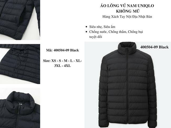 áo lông vũ nam uniqlo không mũ màu đen 400504