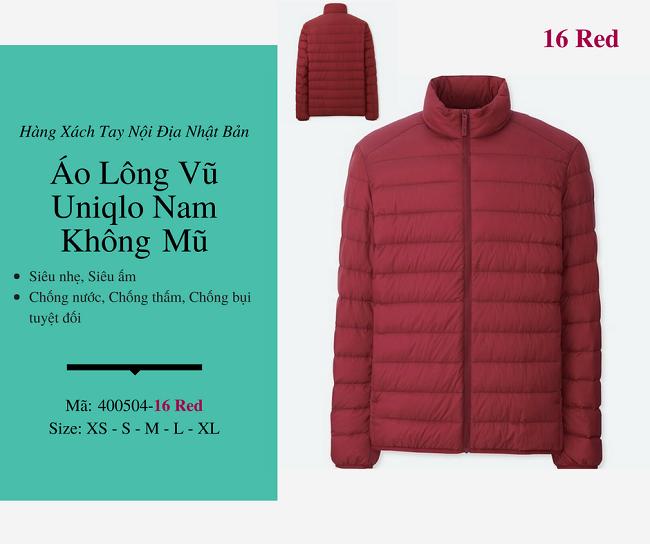 áo lông vũ nam uniqlo không mũ màu đỏ 400504