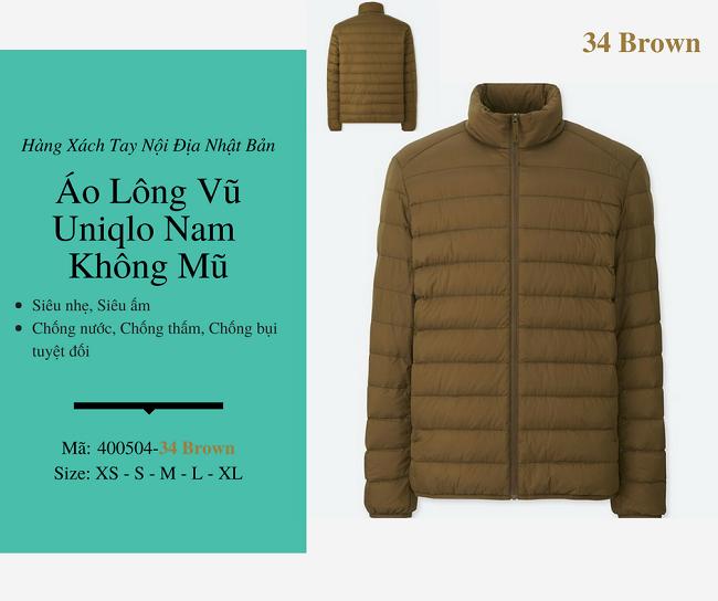 áo lông vũ nam uniqlo không mũ màu brown 400504
