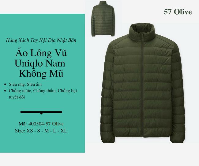 áo lông vũ nam uniqlo không mũ màu xanh olive 400504