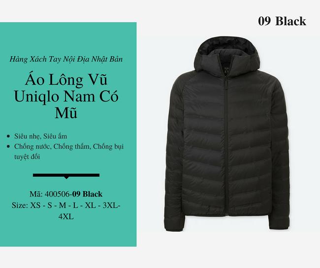 áo lông vũ nam uniqlo có mũ màu đen 400506