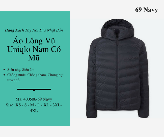 áo lông vũ nam uniqlo có mũ màu navy 400506