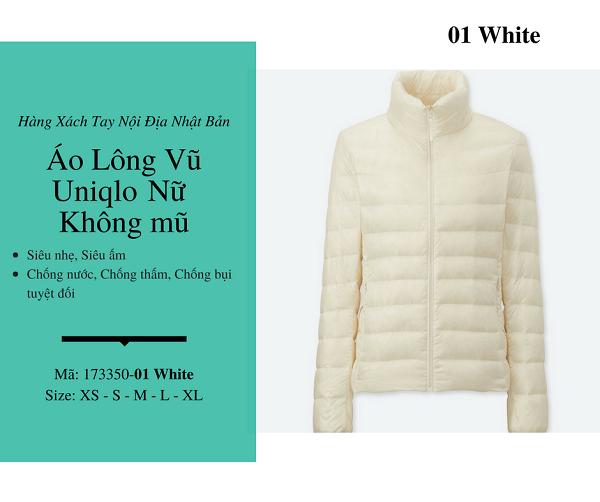 áo lông vũ uniqlo chính hãng màu trắng