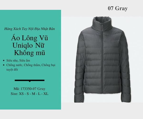 áo lông vũ uniqlo chính hãng màu gray