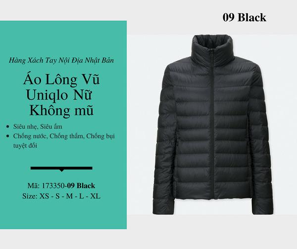 áo lông vũ uniqlo chính hãng màu đen