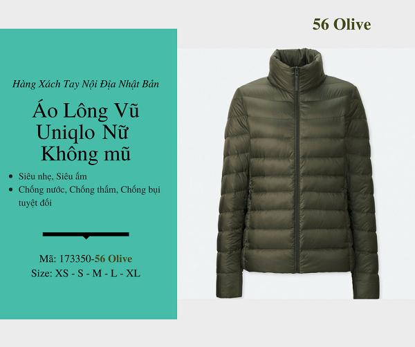 áo lông vũ uniqlo chính hãng màu olive