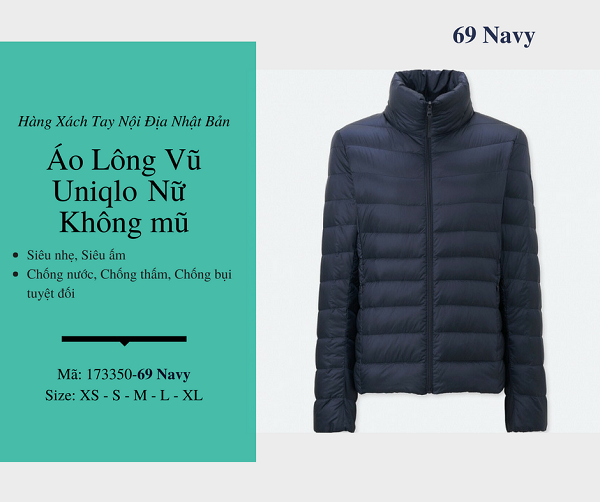 áo lông vũ uniqlo chính hãng màu navy