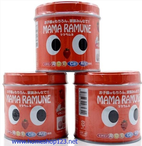 Kẹo cho trẻ biếng ăn Mama Ramune vị dâu 200 viên của Nhật