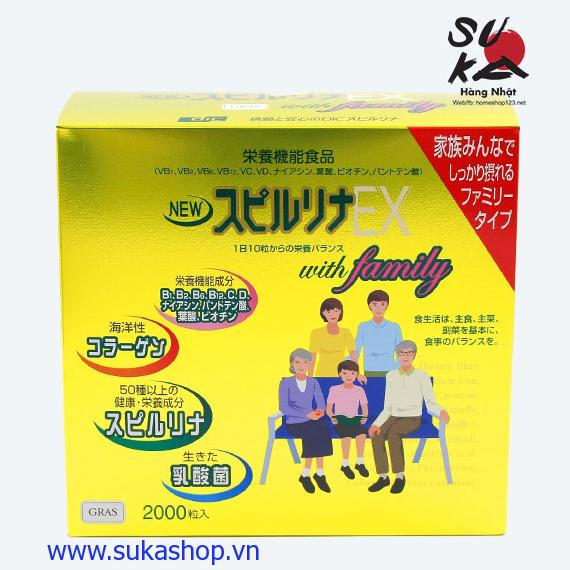 Tảo vàng Spirulina Ex 2000 viên Nhật Cao Cấp dành cho cả Gia đình